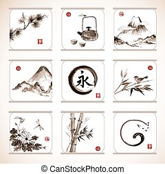 Collection of elements in Japanese style sumie - Collection...
