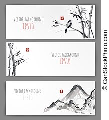 Banners with bamboo, mountains and bird in sumi-e style....