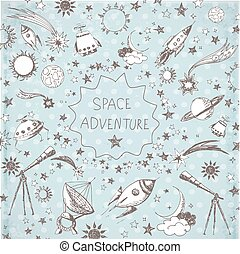 Card with space objects