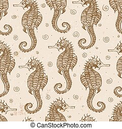 Seamless background with sea-horses. Vector illustration