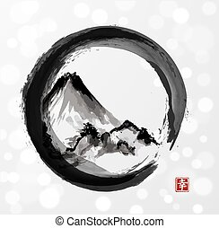 Mountain Fujiyama in black enso circle hand-drawn with ink...