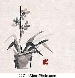 orchid hand drawn in Japanese style