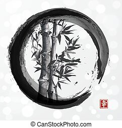 Bamboo tree in enso zen circle - Bamboo tree in enso circle...
