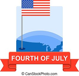 Fourth of July Badge - Badge for US independence day.