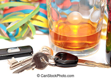 think before driving - glass of whiskey and car keys on...