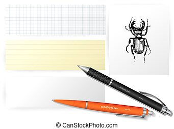 Vector set of paper objects with bugs