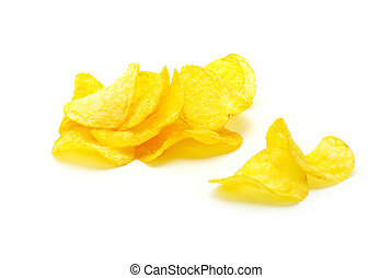potatoe chips - Potatoe chips isolated on pure white...