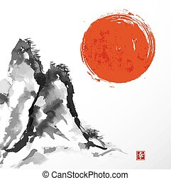 Torii gates and Fujiyama mountain hand-drawn with ink in...