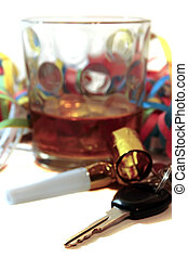 llaves, whisky, coche