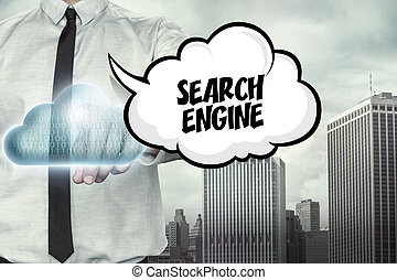 Search engine text on cloud computing theme with businessman...