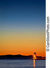 Zadar harbor lighthouse colorful twilight view, Croatia,...