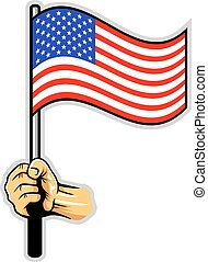 Hand Holding US Flag - Vector illustration of hand holding...