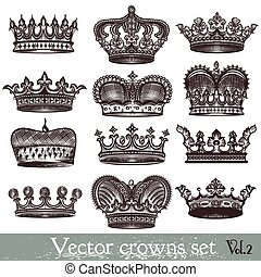 Set of vector hand drawn crowns