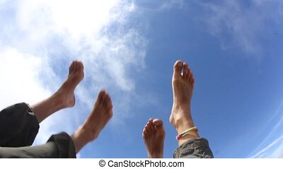Feeling relaxed and letting the bare feet air out in  the sun.