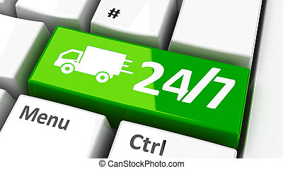 Computer keyboard 24/7 - 24/7 key with truck symbol on the...
