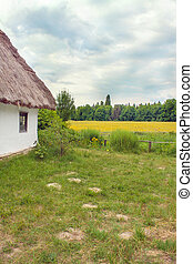 Ukrainian hut thatched sloping field near - Image Ukrainian...