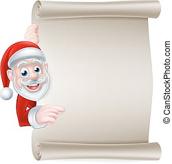 Santa Scroll Banner - Cartoon Christmas Santa scroll sign of...