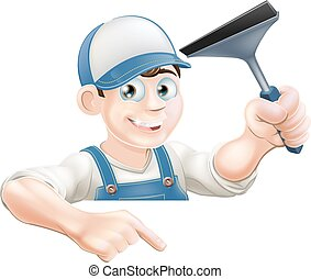 Pointing Window Cleaner - A cartoon window cleaner holding a...