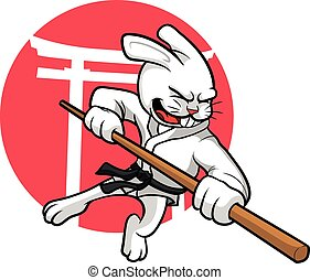 Karate Rabbit - A vector Illustration of Karate Rabbit with...