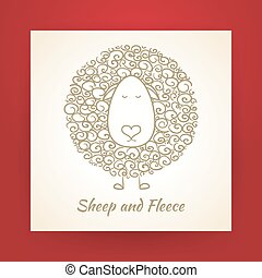 Hand Drawn Gold Sheep and Fleece Vector Illustration - Hand...