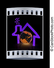 3d green icon house, earth on white background. The film strip