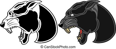 Panther Head - Illustration of a black panther head,...