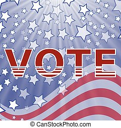 American Vote Text on Blue Starry Background Election Vote