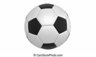 Textured leather football ball. Vertical rotation....