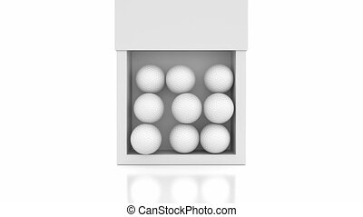 New golf balls - just from the box, 3D animation with alpha...