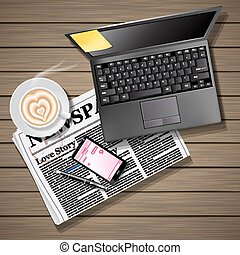 newspaper and mobile phone with latte art and laptop - chat...