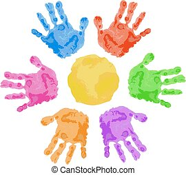 handprint sun - sun sign is made of colorful child hand...