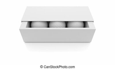 Golf balls - 3D animation of golf balls inside the box,...