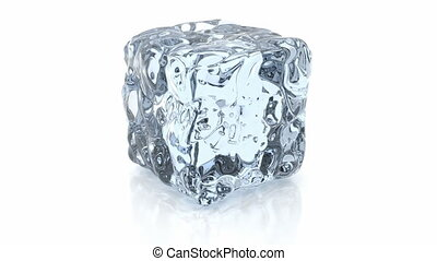 3D animation of rotating ice cube, alpha mask is included