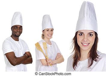 Feliz, cozinheiros, equipe