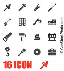 Vector grey construction icon set on white background