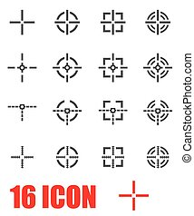 Vector grey crosshair icon set on white background