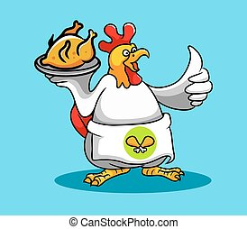 Rooster Chef (Fried Chicken) - Rooster cooking a fried...