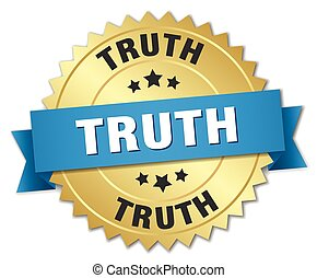 truth 3d gold badge with blue ribbon