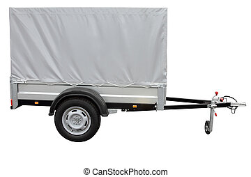 Grey car trailer, isolated on white background