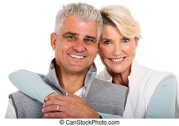 mid age married couple - close up portrait of cute mid age...