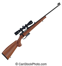 Old style rifle - Futuristic assault weapon placed on white...