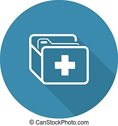 Medical Records Icon Flat Design Long Shadow - Medical...