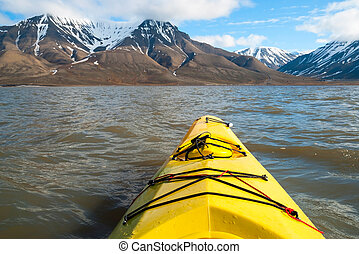Kayaking on the sea in Svalbard, first person view -...