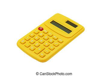 計算, 白色, 被隔离, 黃色