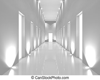 corridor - Illuminated long corridor in modern office...