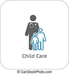 Child Care and Medical Services Icon. Flat Design. Isolated.