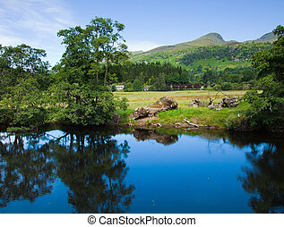 scotland, summer landscape, river Lochay close to its...