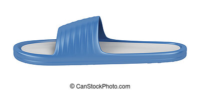 Slipper - Side view of blue rubber slipper, isolated on...