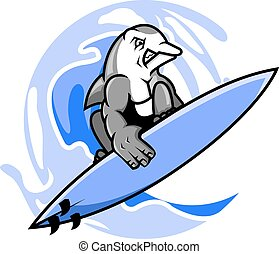 Surfer Dolphin - Vector illustration of surfing dolphin