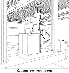 Gas station wire-frame line vector Illustration created of...